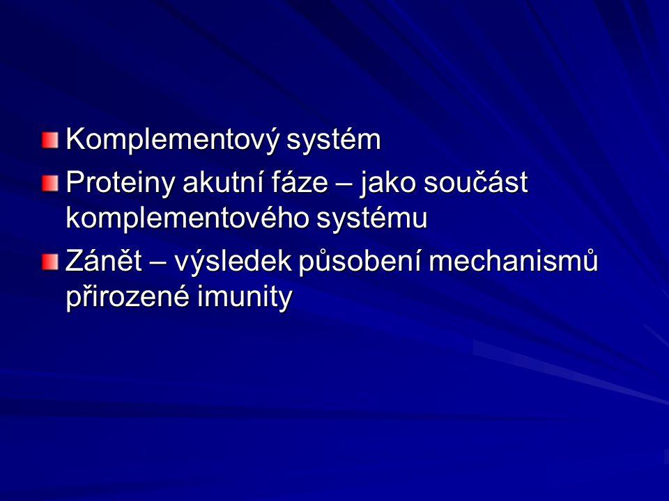 Komplementový systém Proteiny akutní fáze – jako součást komplementového systému.