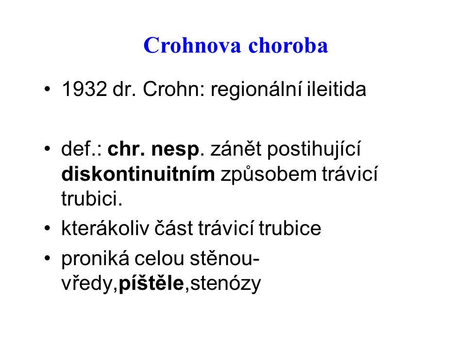 Crohnova choroba 1932 dr. Crohn: regionální ileitida