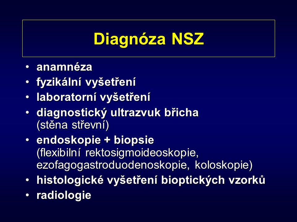 Diagnóza NSZ anamnéza fyzikální vyšetření laboratorní vyšetření