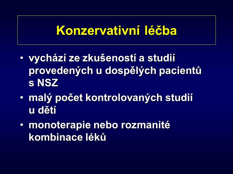 Konzervativní léčba vychází ze zkušeností a studií provedených u dospělých pacientů s NSZ. malý počet kontrolovaných studií u dětí.