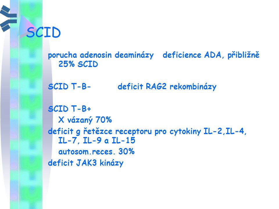 SCID porucha adenosin deaminázy deficience ADA, přibližně 25% SCID