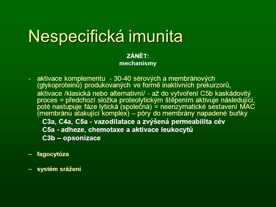 Nespecifická imunita ZÁNĚT: mechanismy.