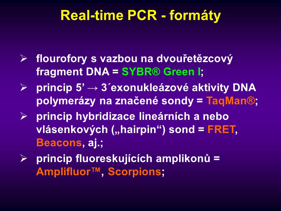 Real-time PCR - formáty