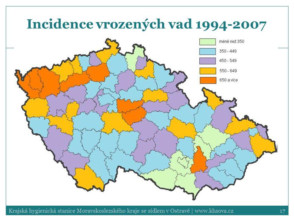 Incidence vrozených vad 1994-2007