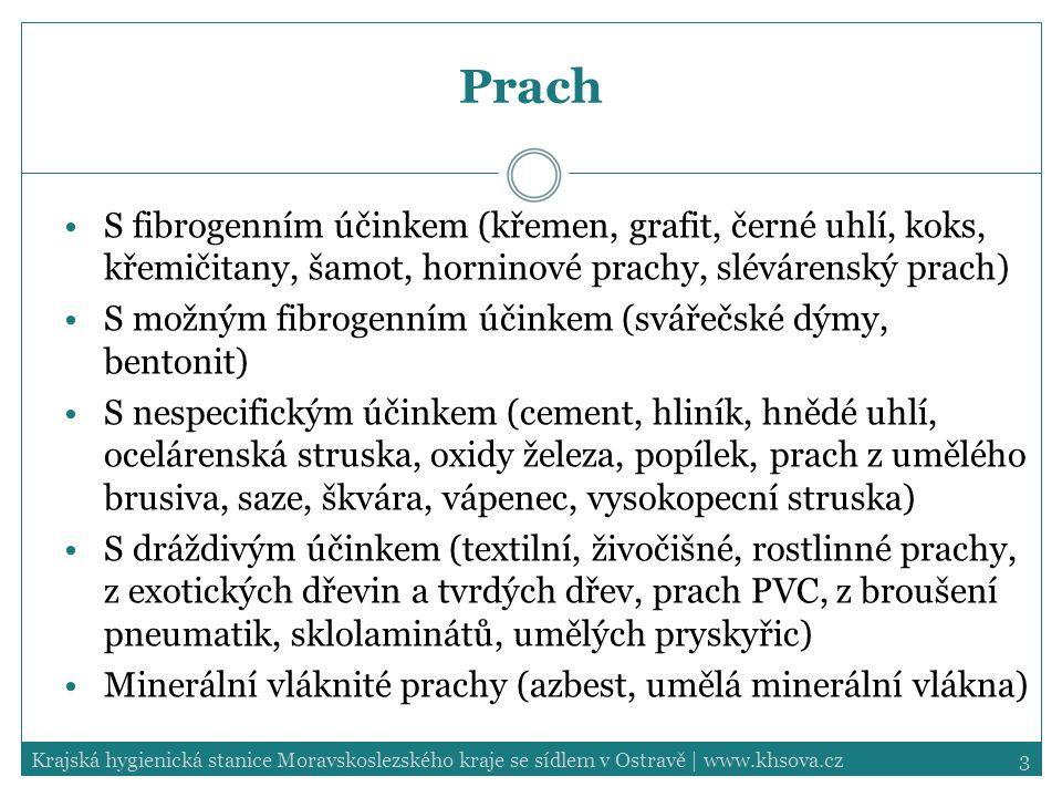 Prach S fibrogenním účinkem (křemen, grafit, černé uhlí, koks, křemičitany, šamot, horninové prachy, slévárenský prach)