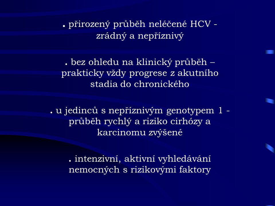. přirozený průběh neléčené HCV - zrádný a nepříznivý