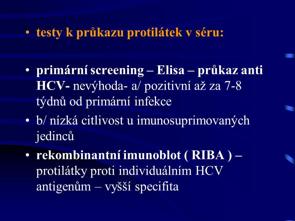 testy k průkazu protilátek v séru: