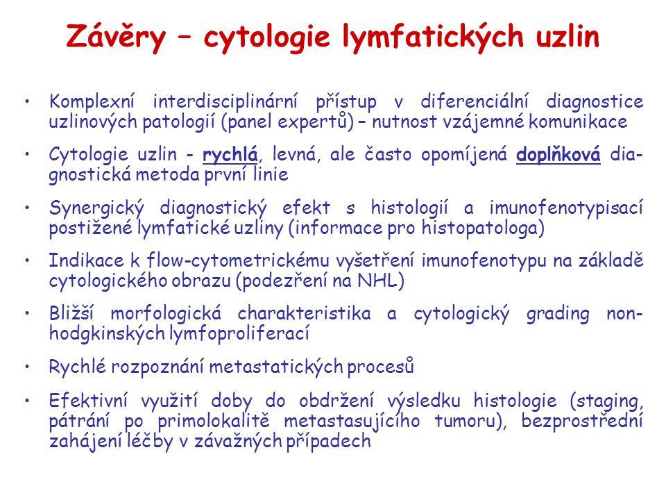 Závěry – cytologie lymfatických uzlin