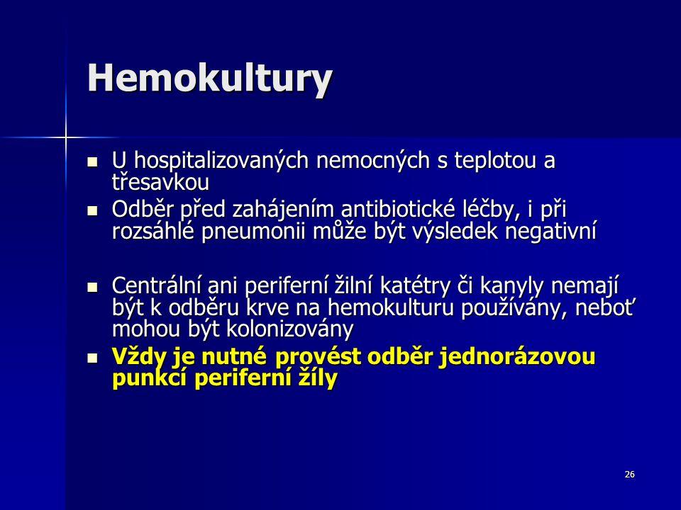 Hemokultury U hospitalizovaných nemocných s teplotou a třesavkou
