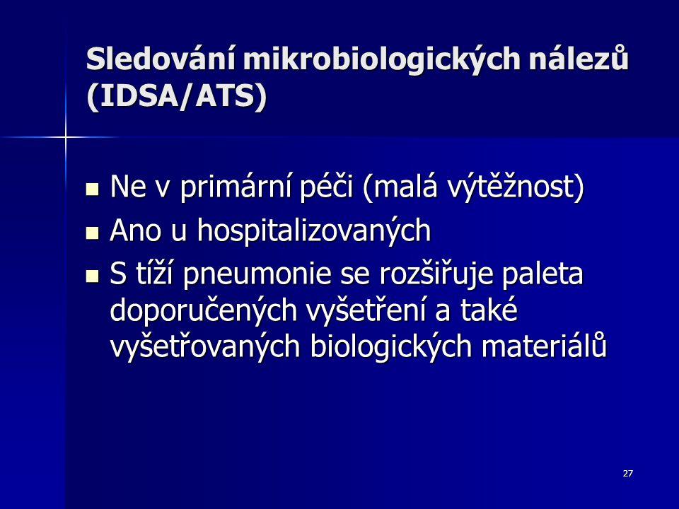 Sledování mikrobiologických nálezů (IDSA/ATS)