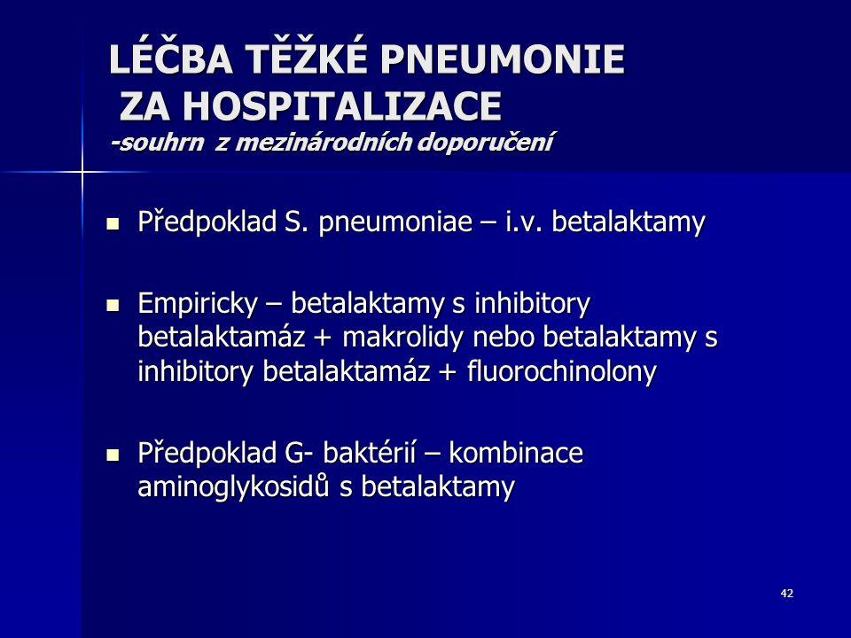 LÉČBA TĚŽKÉ PNEUMONIE ZA HOSPITALIZACE -souhrn z mezinárodních doporučení