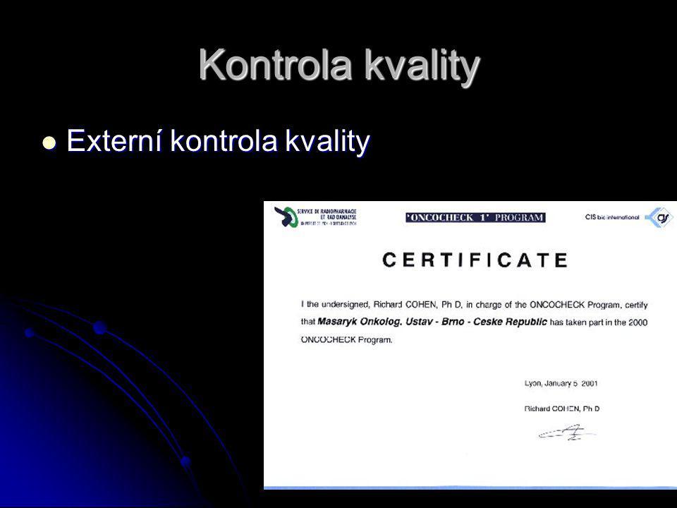 Kontrola kvality Externí kontrola kvality
