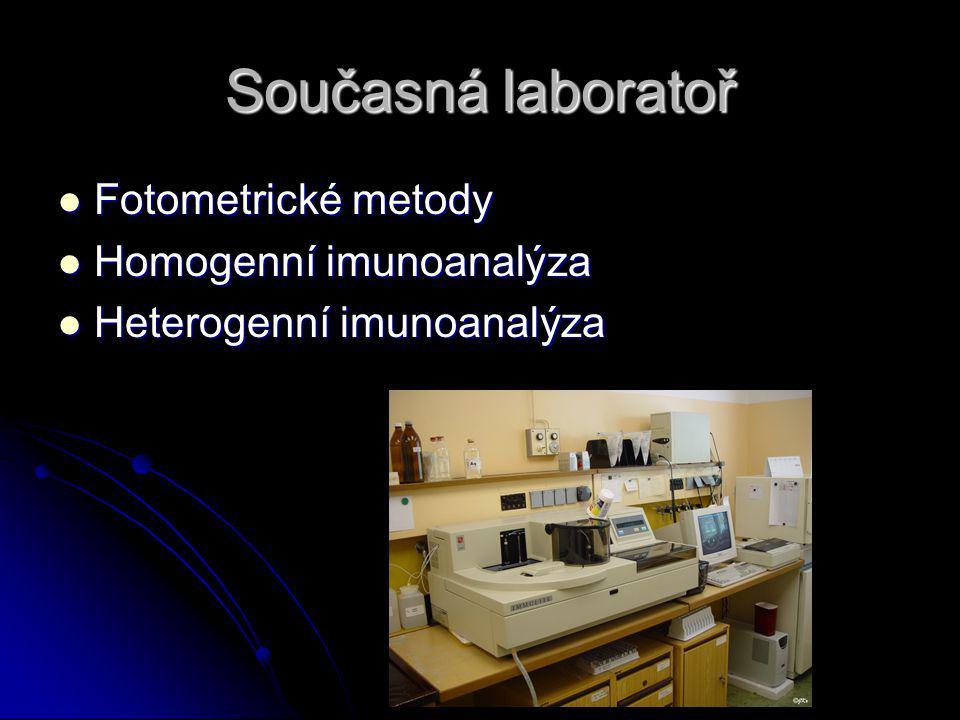Současná laboratoř Fotometrické metody Homogenní imunoanalýza