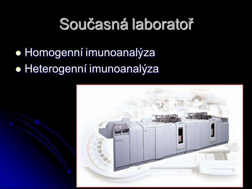 Současná laboratoř Homogenní imunoanalýza Heterogenní imunoanalýza