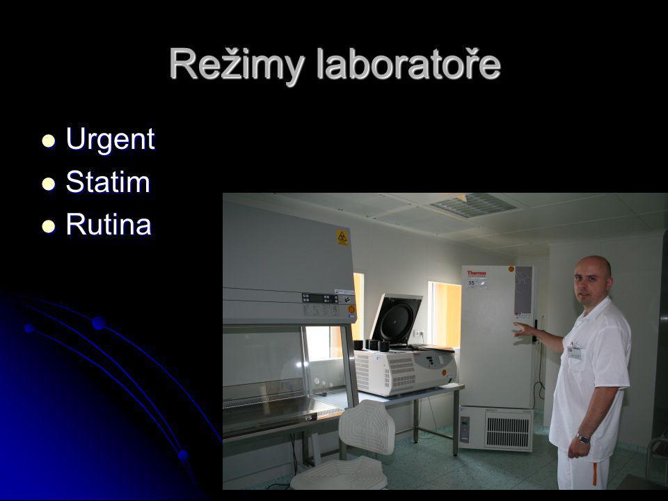 Režimy laboratoře Urgent Statim Rutina