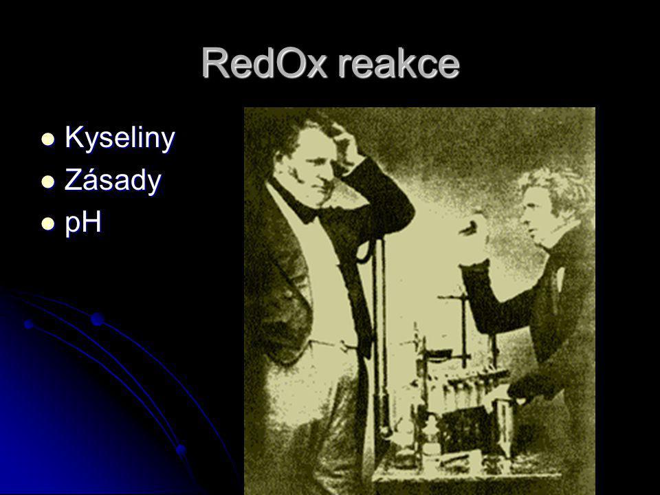 RedOx reakce Kyseliny Zásady pH