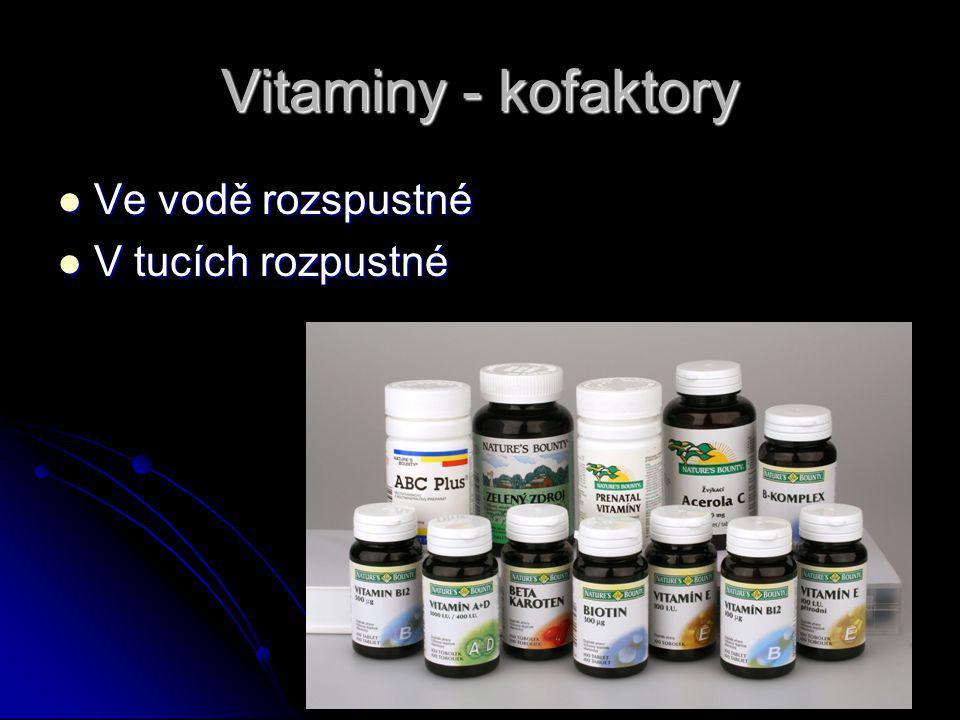 Vitaminy - kofaktory Ve vodě rozspustné V tucích rozpustné