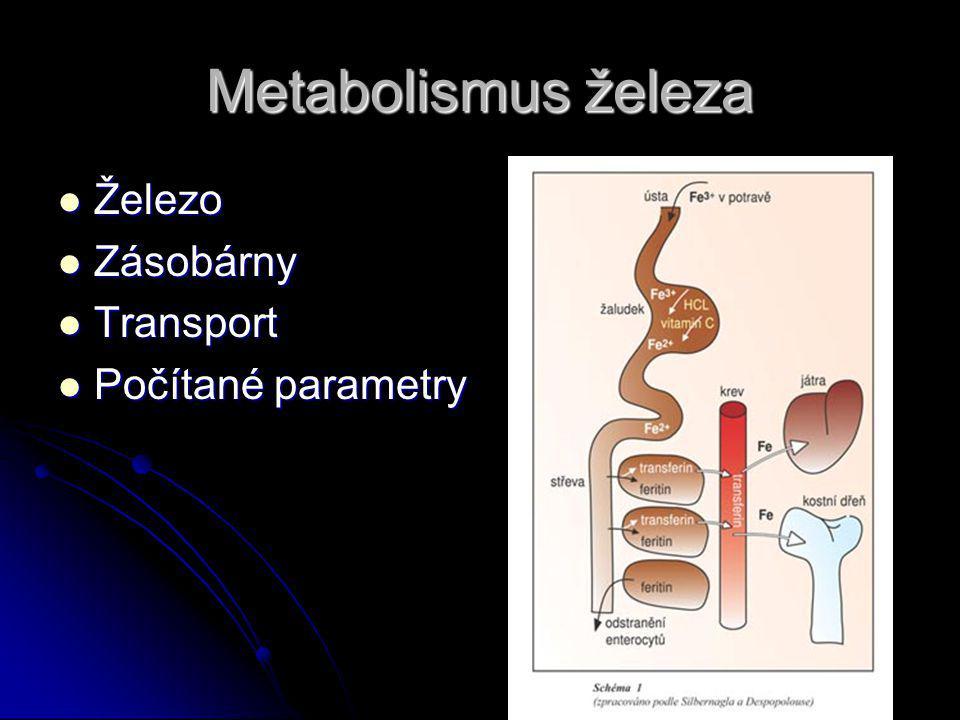 Metabolismus železa Železo Zásobárny Transport Počítané parametry