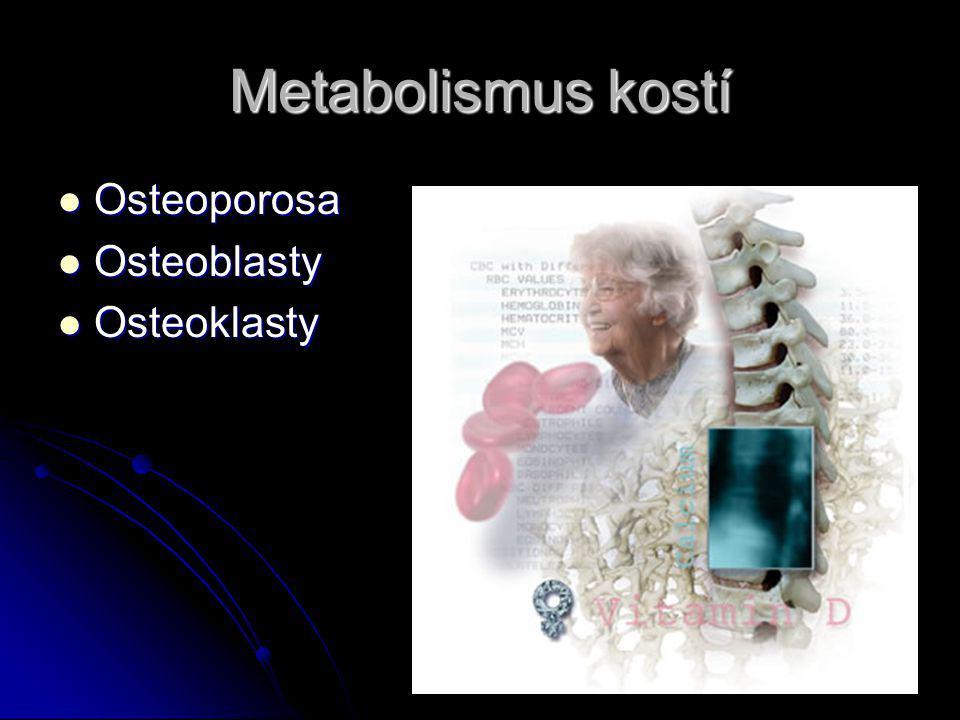 Metabolismus kostí Osteoporosa Osteoblasty Osteoklasty