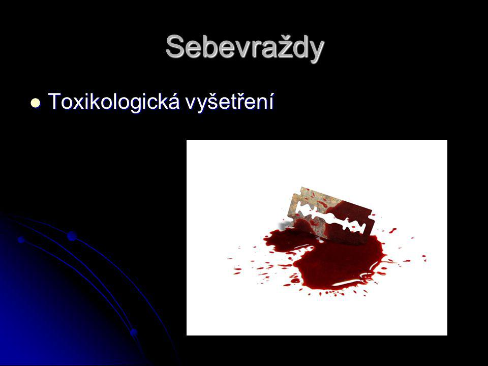Sebevraždy Toxikologická vyšetření