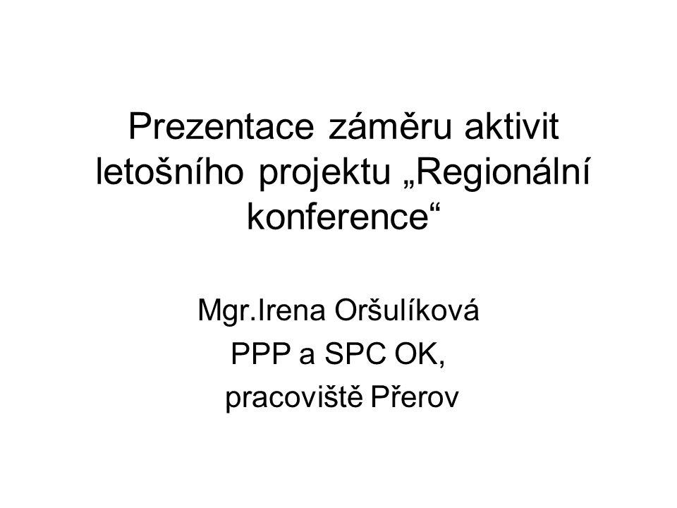 """Prezentace záměru aktivit letošního projektu """"Regionální konference"""