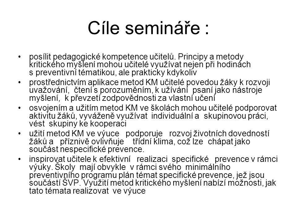Cíle semináře :