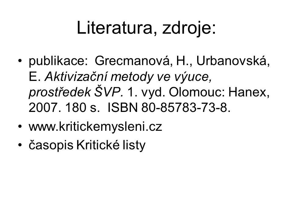Literatura, zdroje: