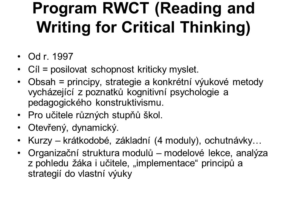 Program RWCT (Reading and Writing for Critical Thinking)