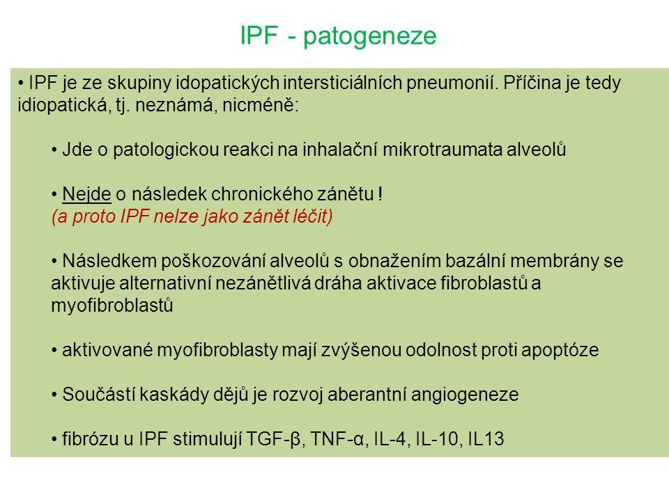 IPF - patogeneze IPF je ze skupiny idopatických intersticiálních pneumonií. Příčina je tedy idiopatická, tj. neznámá, nicméně: