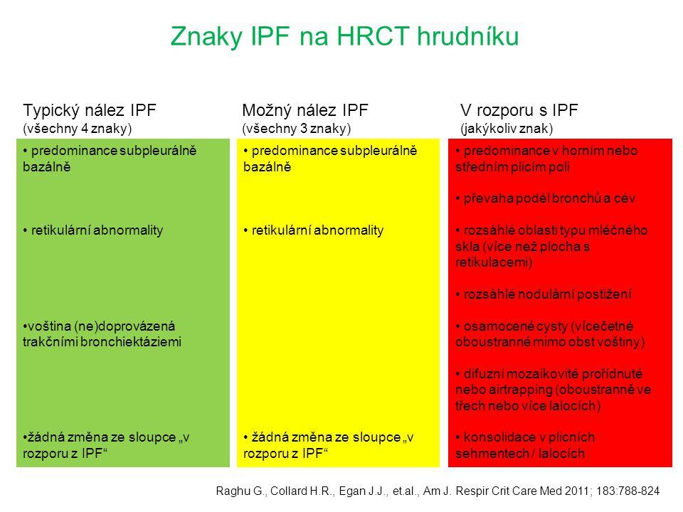 Znaky IPF na HRCT hrudníku