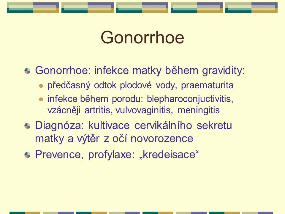 Gonorrhoe Gonorrhoe: infekce matky během gravidity: