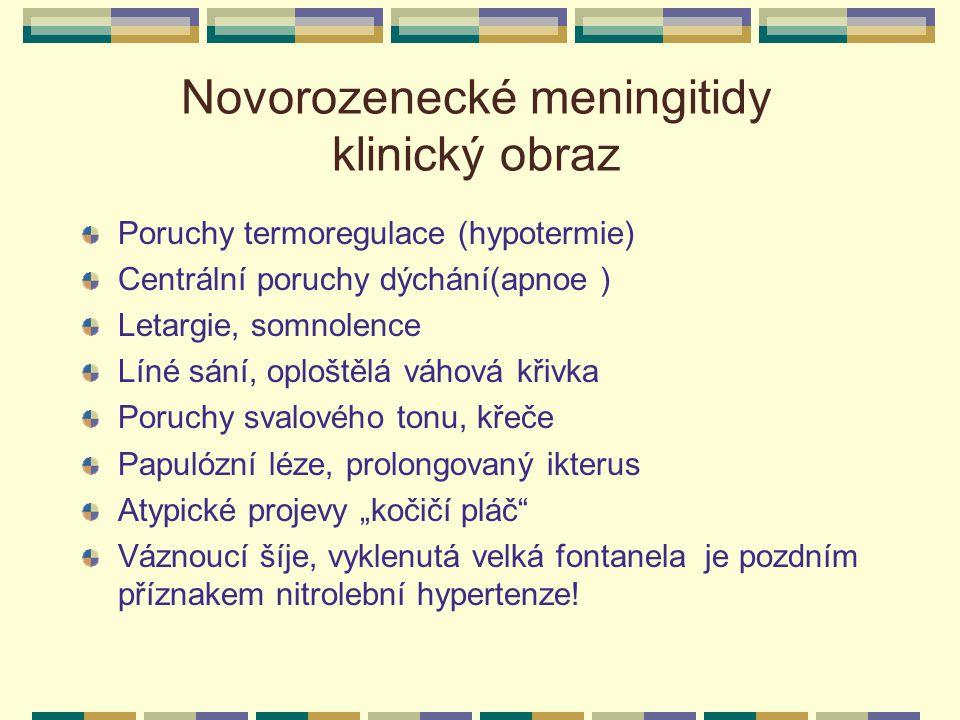 Novorozenecké meningitidy klinický obraz