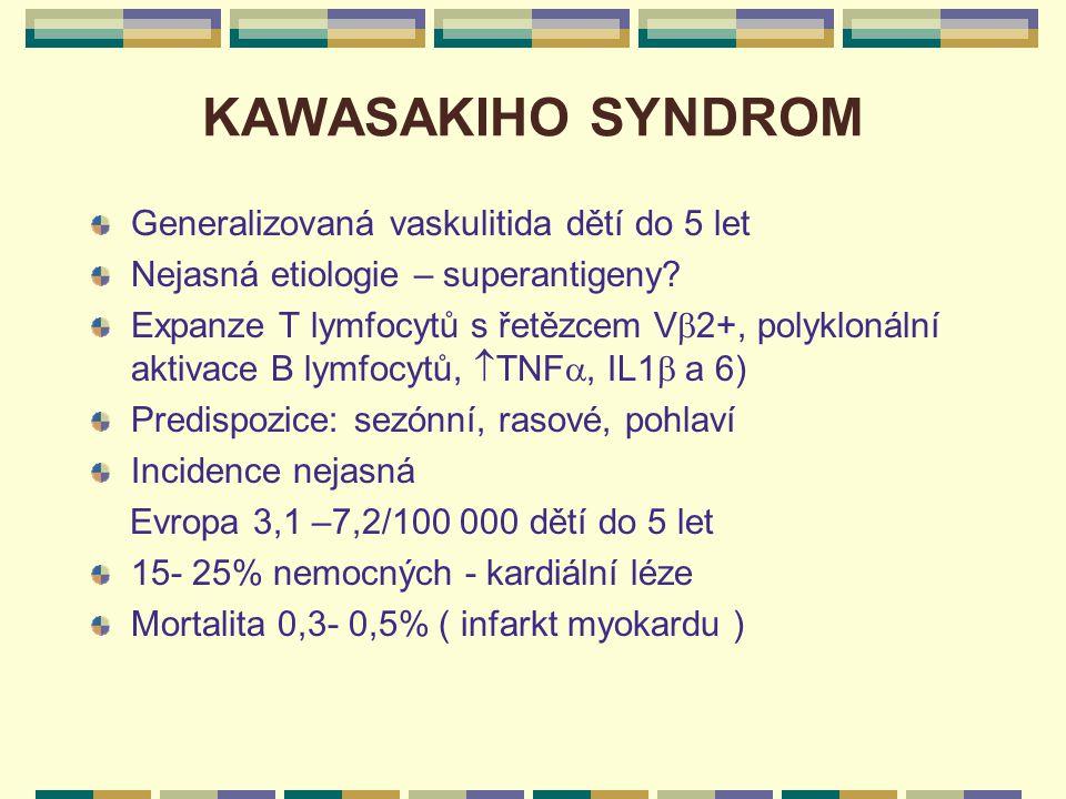 KAWASAKIHO SYNDROM Generalizovaná vaskulitida dětí do 5 let