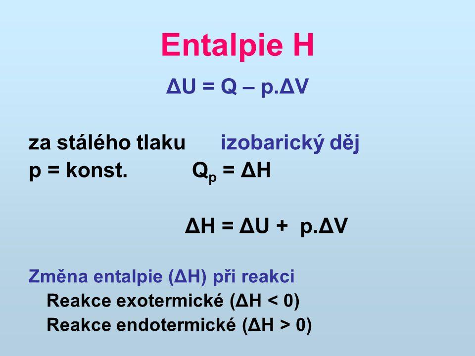 Entalpie H ΔU = Q – p.ΔV za stálého tlaku izobarický děj