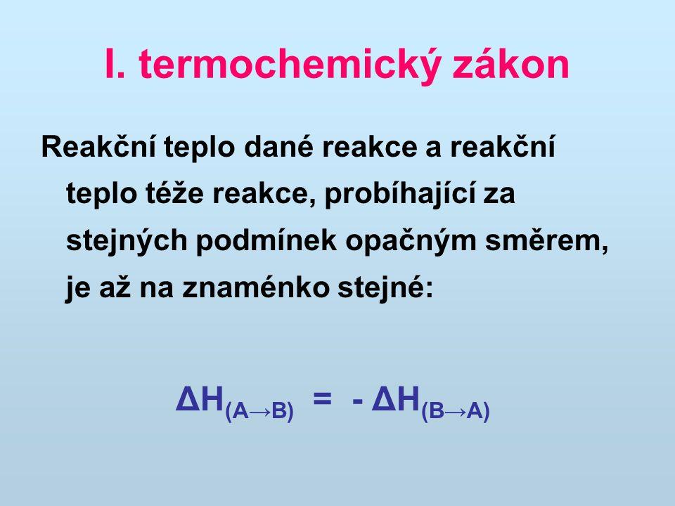 I. termochemický zákon
