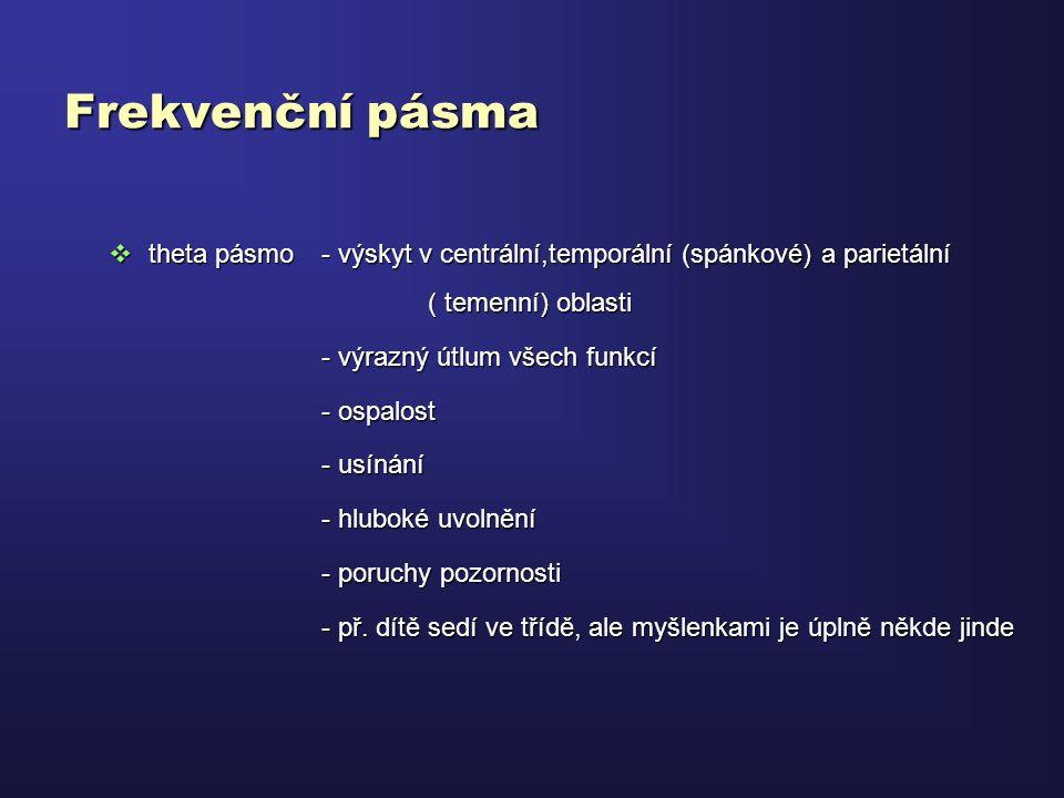 Frekvenční pásma theta pásmo - výskyt v centrální,temporální (spánkové) a parietální ( temenní) oblasti.
