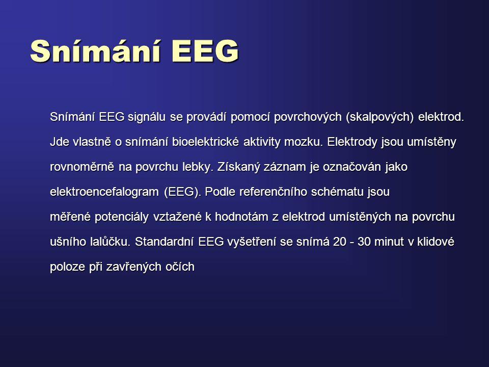 Snímání EEG Snímání EEG signálu se provádí pomocí povrchových (skalpových) elektrod.