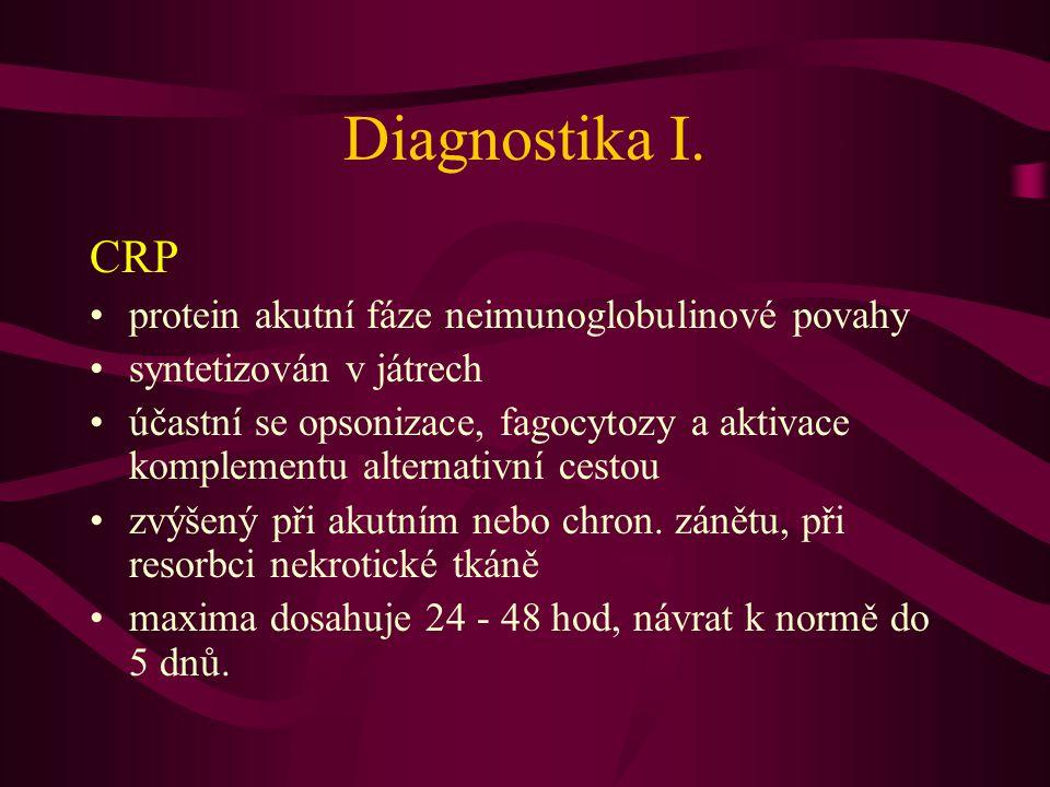 Diagnostika I. CRP protein akutní fáze neimunoglobulinové povahy
