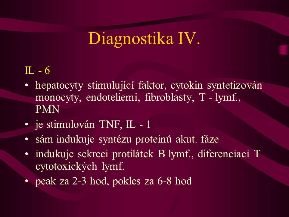 Diagnostika IV. IL - 6. hepatocyty stimulující faktor, cytokin syntetizován monocyty, endoteliemi, fibroblasty, T - lymf., PMN.