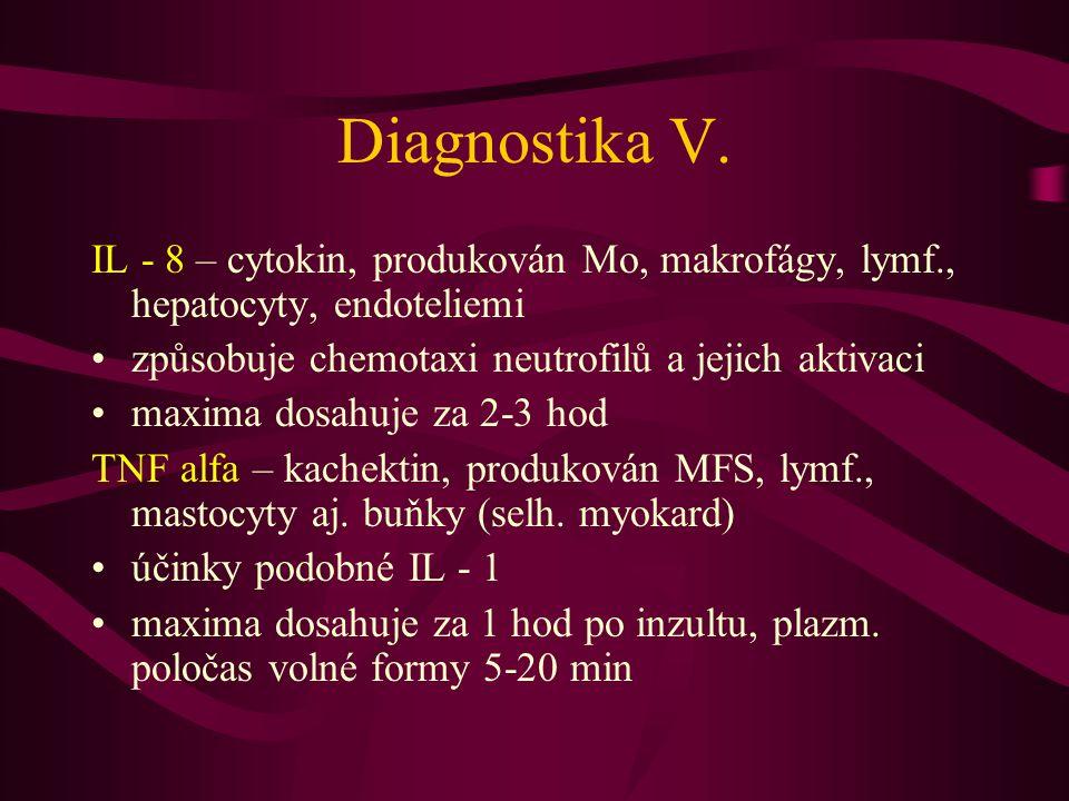 Diagnostika V. IL - 8 – cytokin, produkován Mo, makrofágy, lymf., hepatocyty, endoteliemi. způsobuje chemotaxi neutrofilů a jejich aktivaci.
