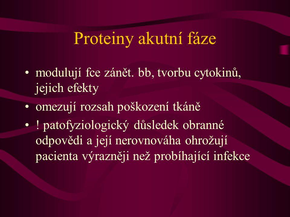 Proteiny akutní fáze modulují fce zánět. bb, tvorbu cytokinů, jejich efekty. omezují rozsah poškození tkáně.
