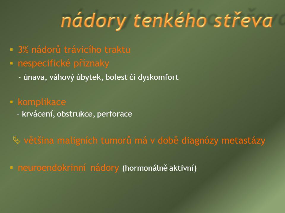 3% nádorů trávicího traktu nespecifické příznaky