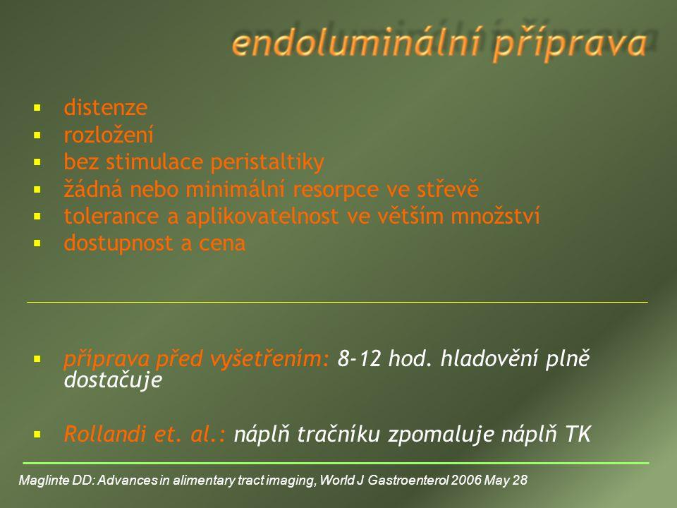 bez stimulace peristaltiky žádná nebo minimální resorpce ve střevě