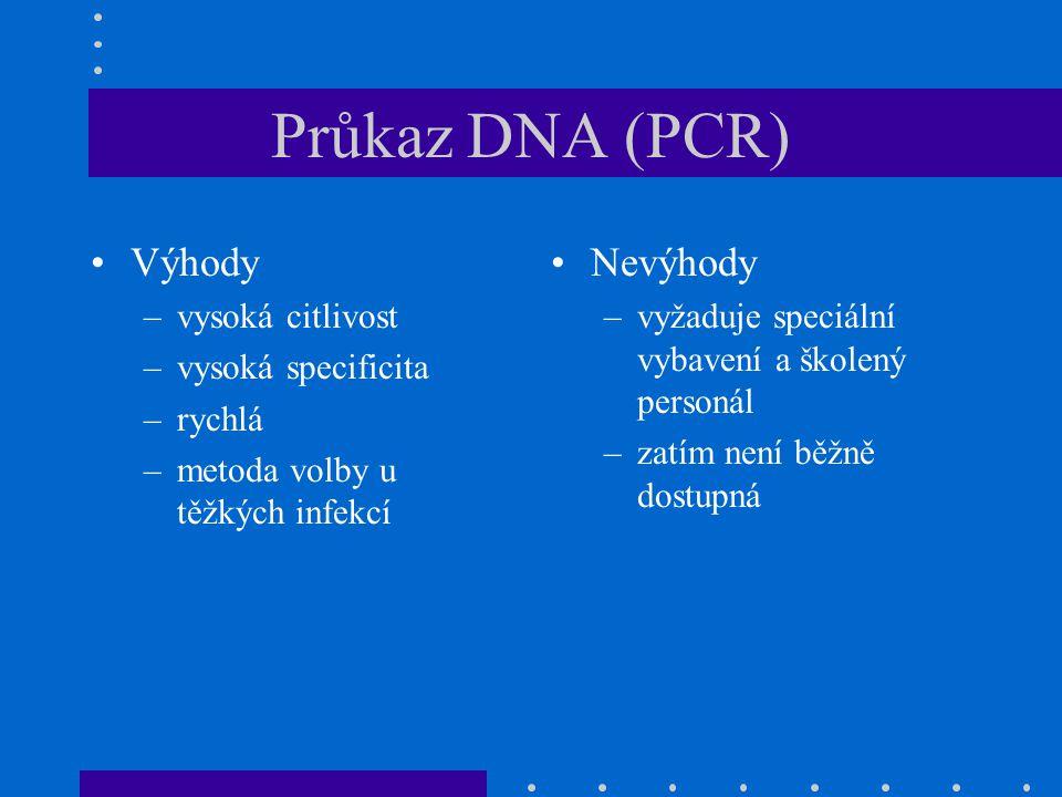 Průkaz DNA (PCR) Výhody Nevýhody vysoká citlivost vysoká specificita