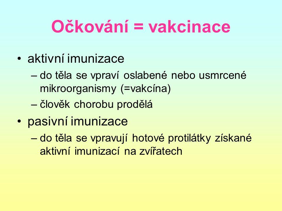 Očkování = vakcinace aktivní imunizace pasivní imunizace
