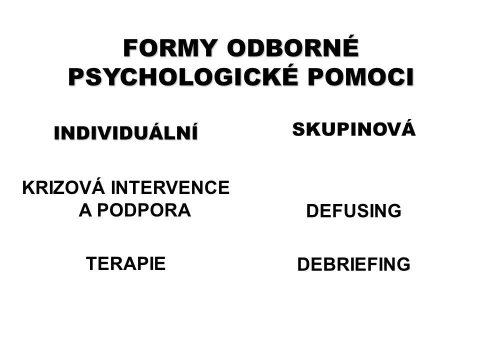 FORMY ODBORNÉ PSYCHOLOGICKÉ POMOCI KRIZOVÁ INTERVENCE A PODPORA