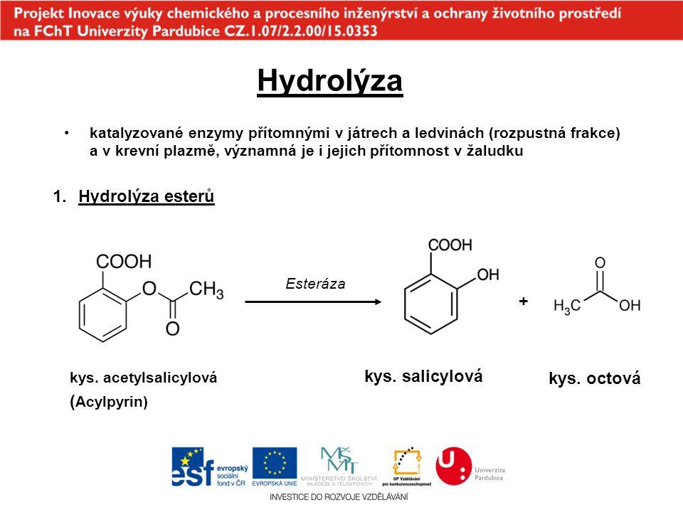 Hydrolýza Hydrolýza esterů + kys. salicylová kys. octová (Acylpyrin)
