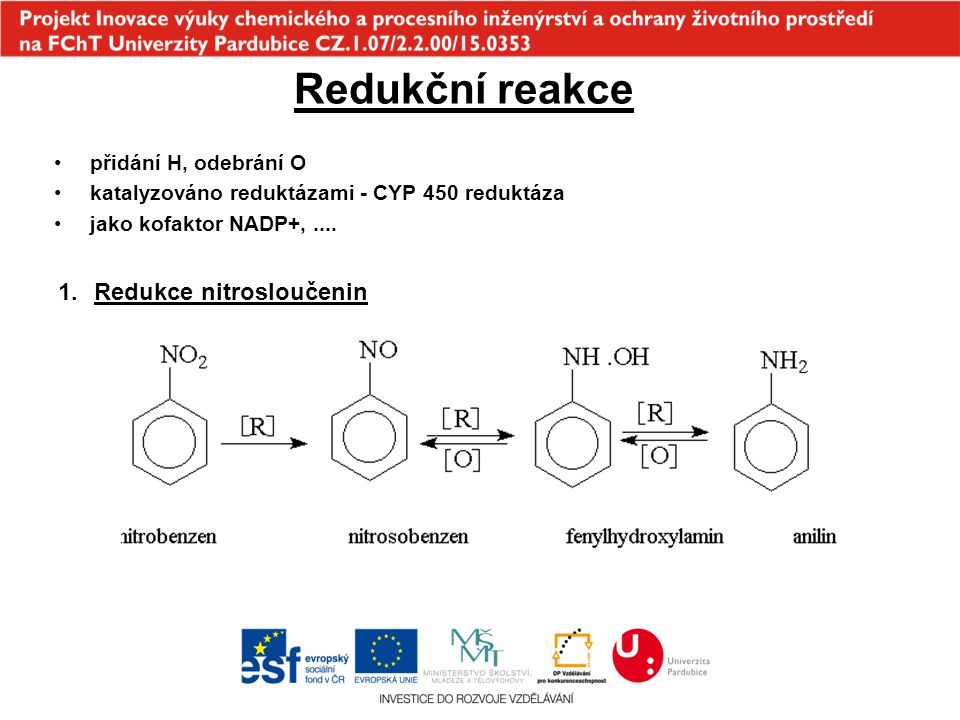 Redukční reakce Redukce nitrosloučenin přidání H, odebrání O