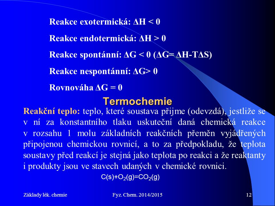 Termochemie Reakce exotermická: ΔH < 0