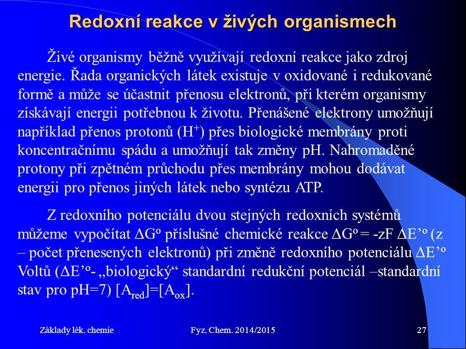 Redoxní reakce v živých organismech
